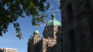 Statue of George Vancouver on top of Parliament buildings, Victoria. video