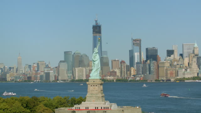 Statue of Liberty, aerial shot video