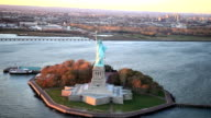 Statue of Liberty - aerial shot video