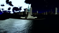 Statue Of Liberty Against Big Moon video