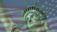 Statue of Liberty and US Flag Behind video