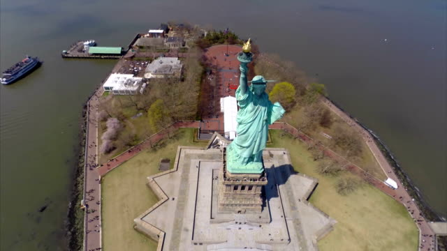 Statue of Liberty flyover aerial video video