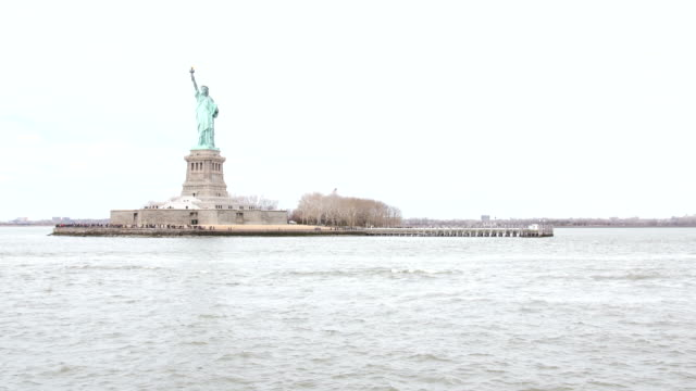 Statue of Liberty in New York, seen from boat video