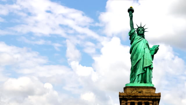 Statue of Liberty with clouds video