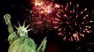 Statue of Liberty with Fireworks behind (New York) video