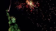 Statue of Liberty with Fireworks behind - Wide (New York) video