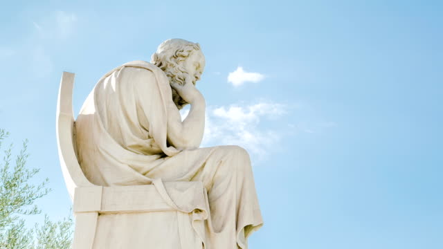 Statue of the philosopher Socrates, time lapse video