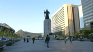 Statues of Admiral Yi Sun-sin, a Korean naval hero at Gwanghwamun Plaza in Seoul City video