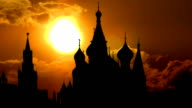 St.Basil`s cathedral and golden sunset video