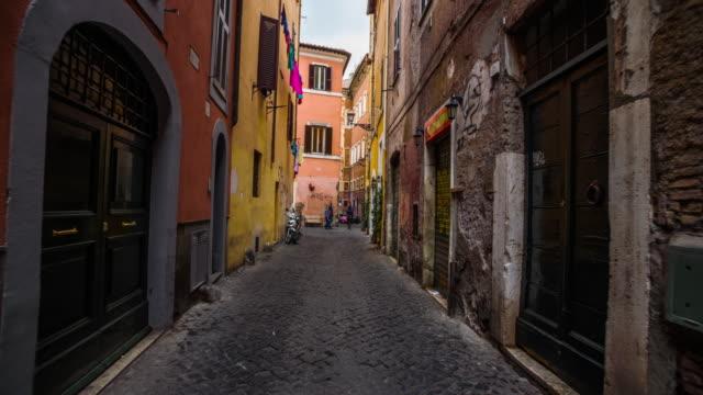 Steadicam: Old street in Trastevere, Rome in Italy video