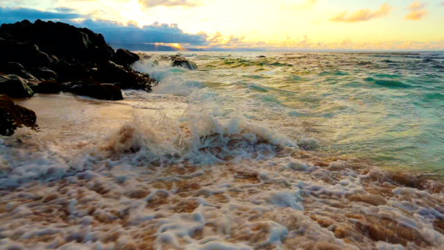 Steadicam Shot of powerful waves crashing on the sand. Landscape Nature Scenic Planet Earth Concept. video