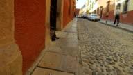 Steadicam shot of the cobblestone streets of San Miguel de Allende Mexico video