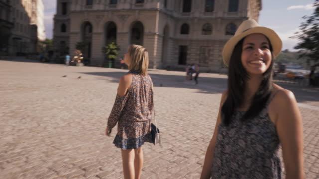 Steadicam Tourism In Cuba Women Friends Taking Photo video