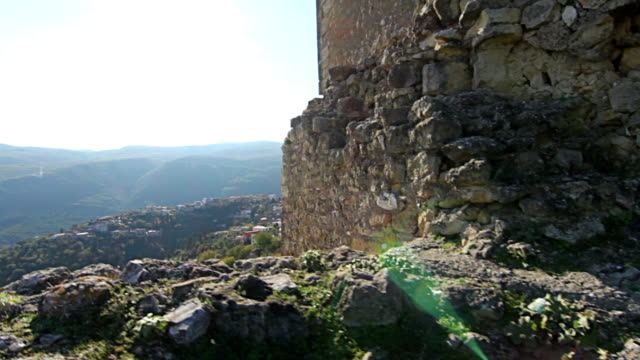 Steady cam shot, Personal perspective of walking in Old century medieval ruins under UNESCO protection video