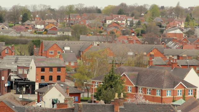 A steady shot, showing the slate, tiled roofs of Tamworth video