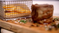 Steak and french fries on a wooden board video