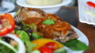 steak and salad, clean fresh healthy colourful with full nutritions vitamin and protein food video