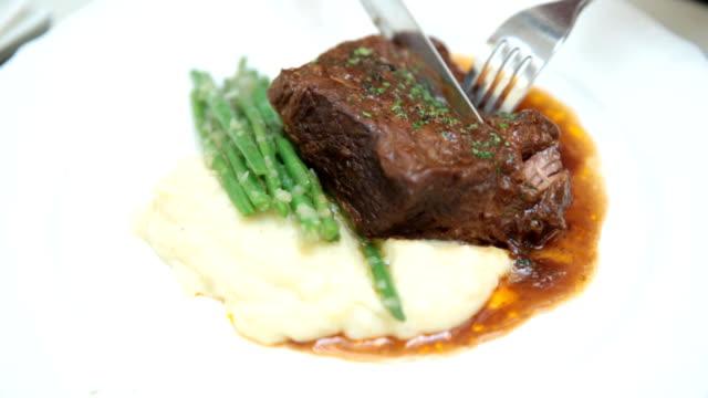 Steak at restaurant video