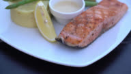 4K Steak salmon video