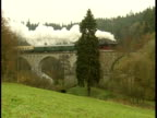Steam engine crossing bridge video