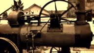 Steam engine driven threshing machines video