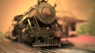 Steam Engine Train Waits at Station #3 - Color video