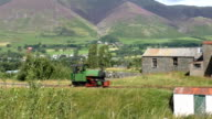 Steam locomotive in a mountain landscape video