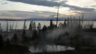 Steam over West Thumb Geyser Basin and Lake, Yellowstone video