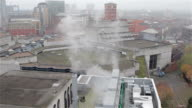 Steam Rises From Chimney Atop Birmingham City Centre Skyline video
