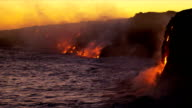 Steam Rising Kilauea Lava Flowing Into Ocean Sunset video