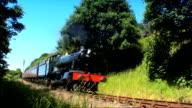 Steam train chugging through the countryside video