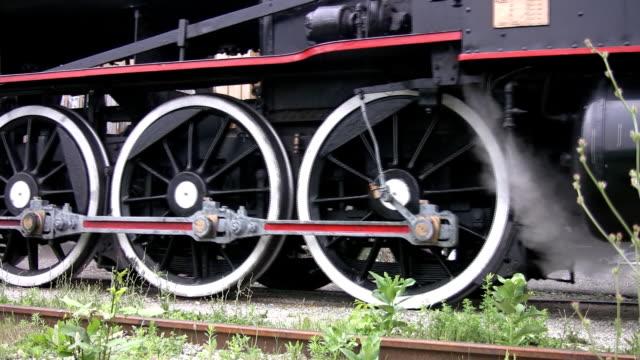 Steam train wheels. video