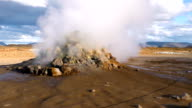 Steam vent at the Hverir geothermal area in North Iceland. Static shot. video