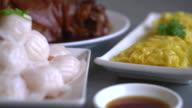 Steamed shrimp dumplings on dining table video