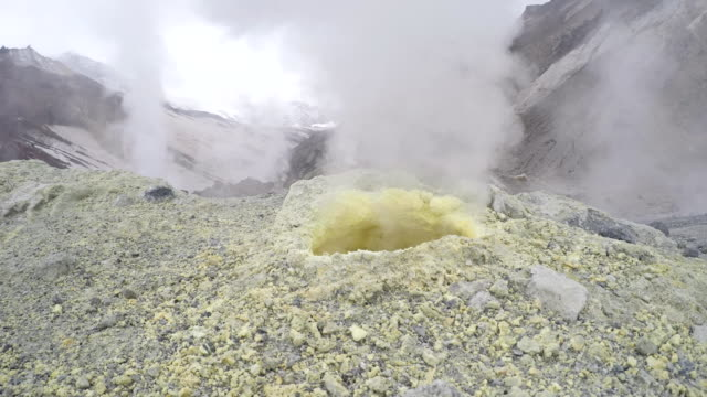 Steaming (smoking) fumarole on thermal field in crater active volcano video