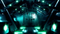 HD: Steel gate opening in science fiction tunnel video