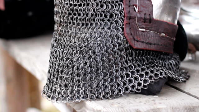 Steel helmet with chain mail face mask, medieval blacksmith armour video