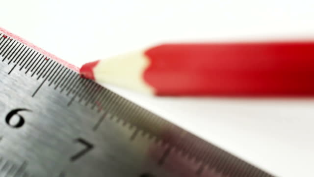 steel ruler and red wood pencil video