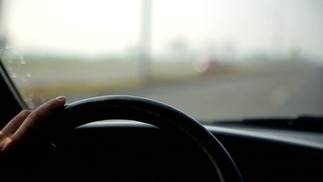 steering wheel in the car, video