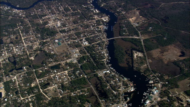 Steinhatchee River And Town  - Aerial View - Florida,  Dixie County,  United States video