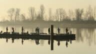 Steveston Harbor Dock Early Morning Fishermen video