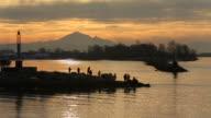 Steveston Harbor Sport Fishermen Sunrise video