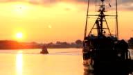 Steveston Harbor Sunrise, Fishboat Departs video