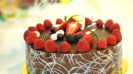 sticky chocolate cake with fresh strawberries and berries video