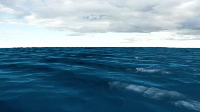 Still blue ocean under cloudy sky video