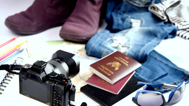 Still life of travelling concept with camera, jean, boots, handbag on white background video