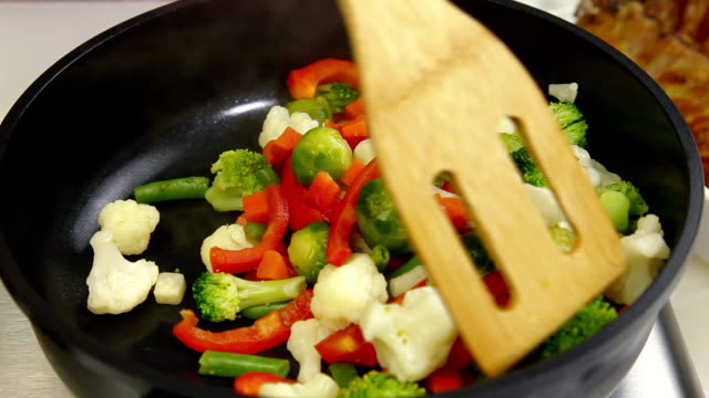 Stirred Vegetables In A Pan video