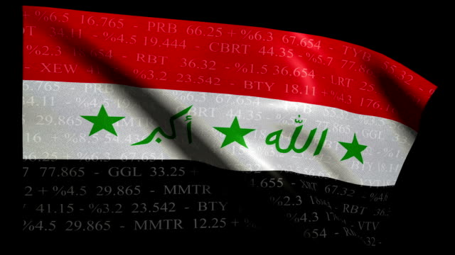 Stock Market Flag of Iraq - Alpha and Loop video
