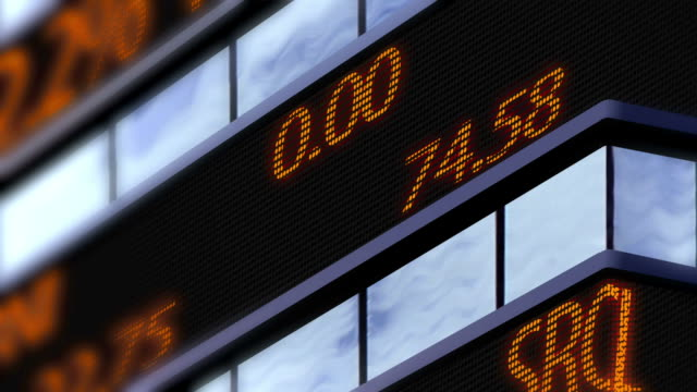 4K Stock market ticker, Time Square zoom shoot video