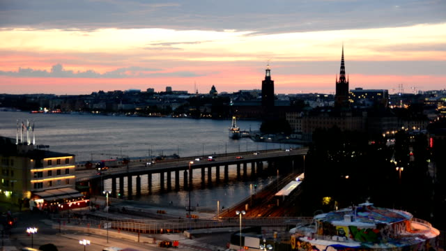 Stockholm City at Dusk video